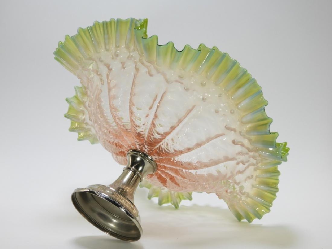 19C. Victorian Diamond Quilted Glass Brides Basket - 4