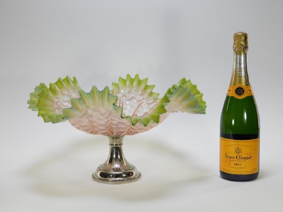 19C. Victorian Diamond Quilted Glass Brides Basket - 5