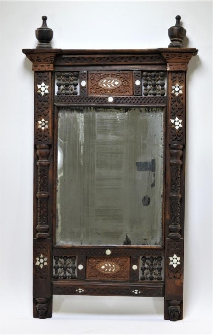 Anglo-Indian Mother of Pearl Inlaid Wood Mirror