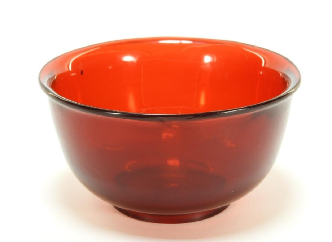 Chinese Red Peking Glass Carved Footed Bowl
