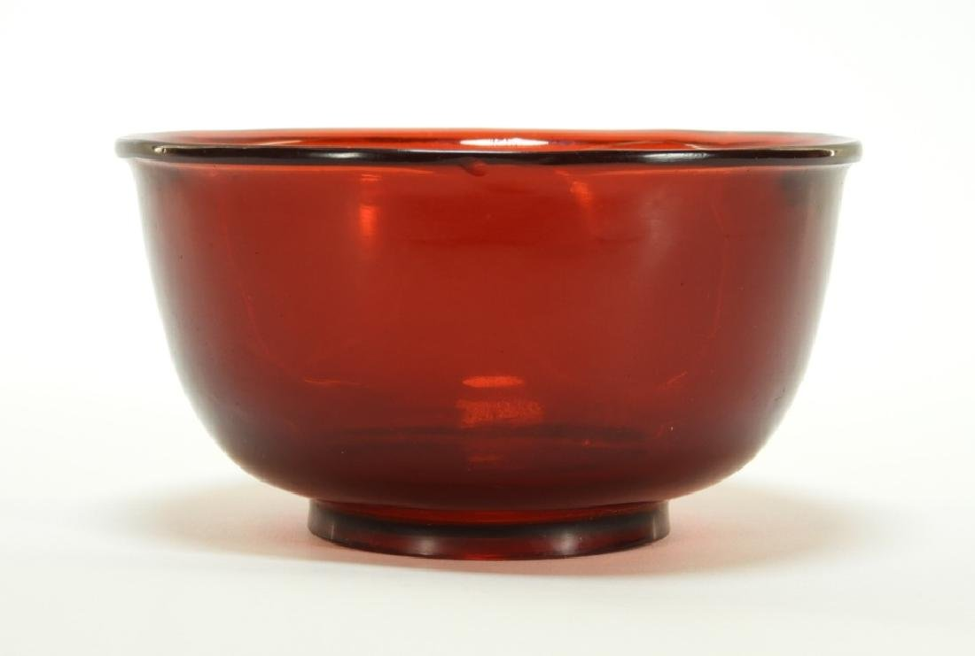 Chinese Red Peking Glass Carved Footed Bowl - 2