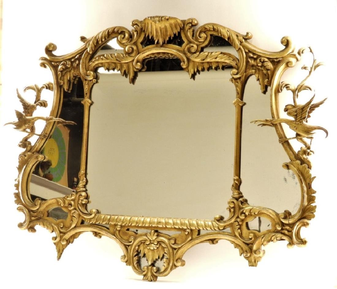 18C French Chinoiserie Gilt Wood Crane Hall Mirror