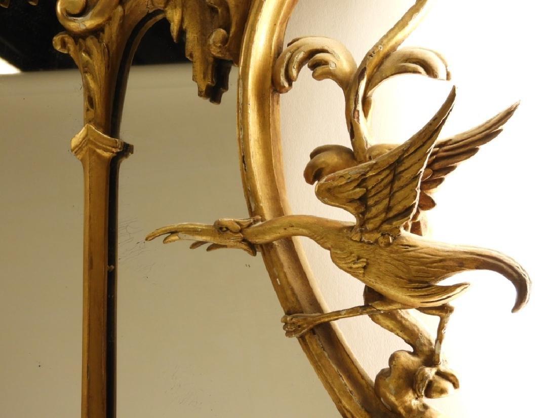 18C French Chinoiserie Gilt Wood Crane Hall Mirror - 3