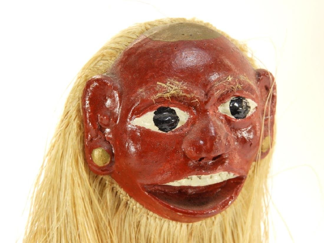 3 19C. SE Asian Carved Wood Raffia Deity Figures - 2