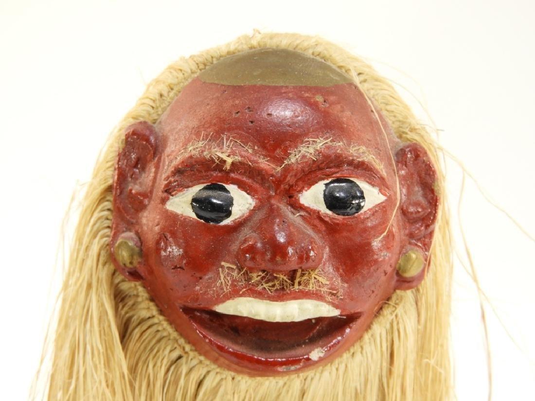 3 19C. SE Asian Carved Wood Raffia Deity Figures - 4