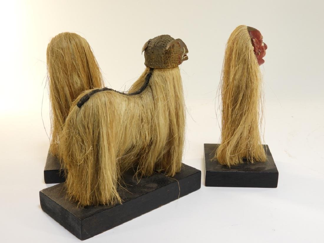 3 19C. SE Asian Carved Wood Raffia Deity Figures - 5