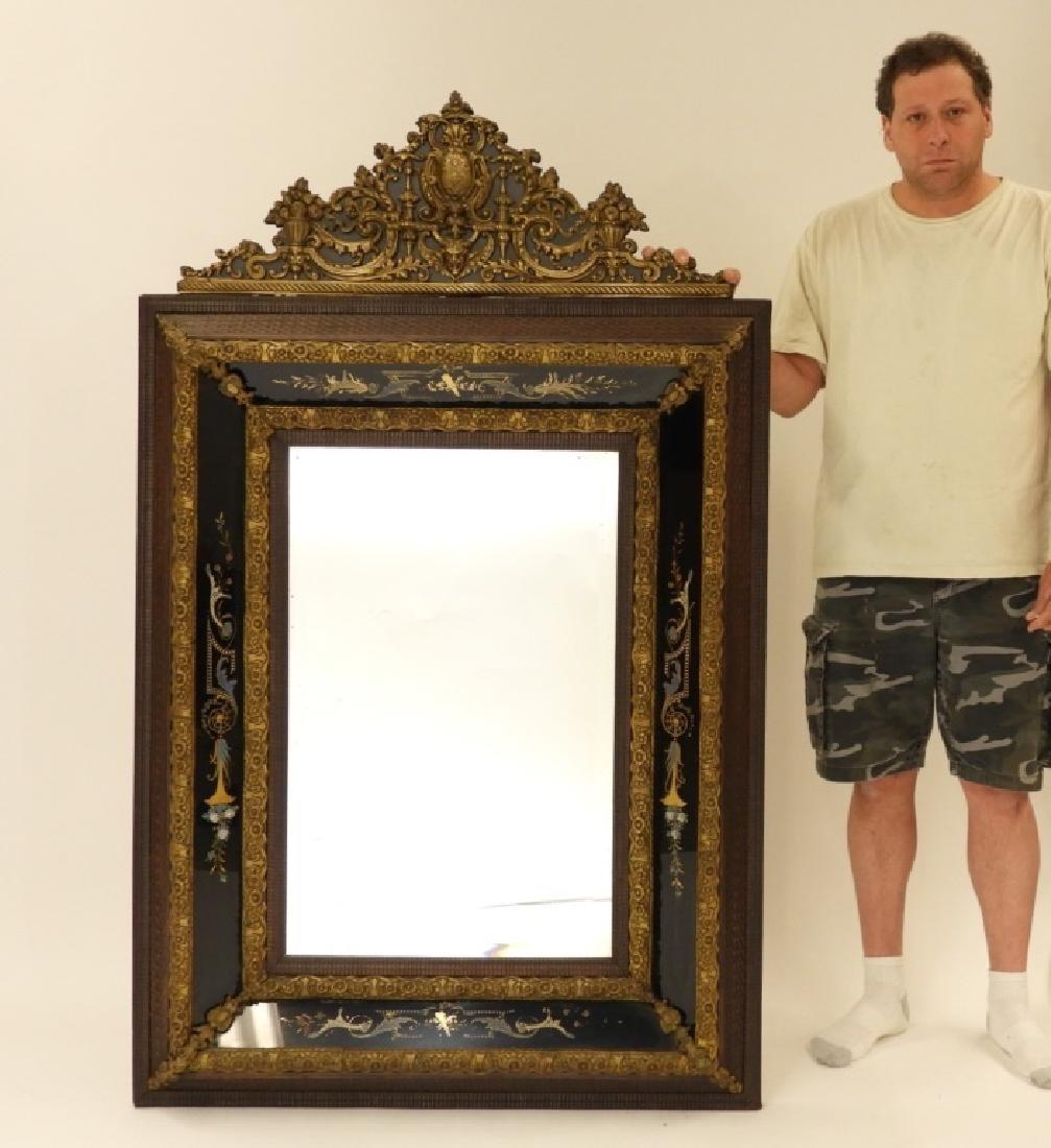 19C. Victorian Eglomised Glass & Brass Hall Mirror