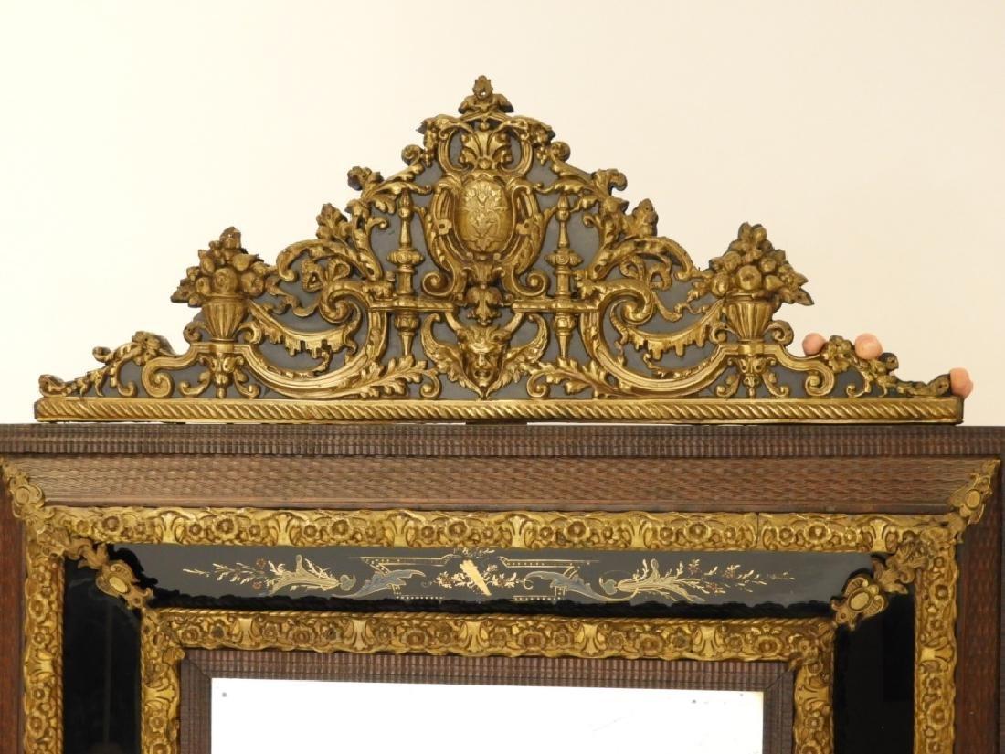 19C. Victorian Eglomised Glass & Brass Hall Mirror - 2