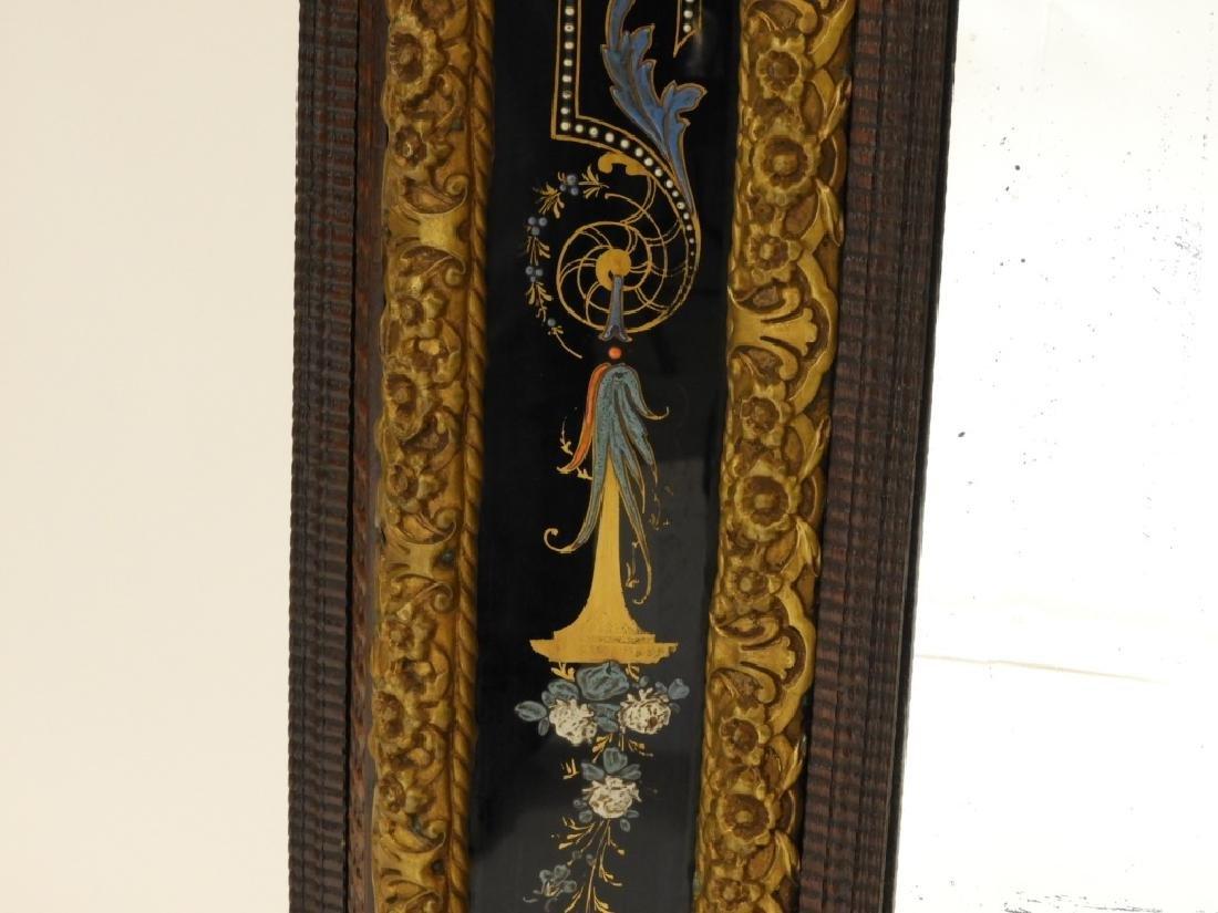 19C. Victorian Eglomised Glass & Brass Hall Mirror - 4