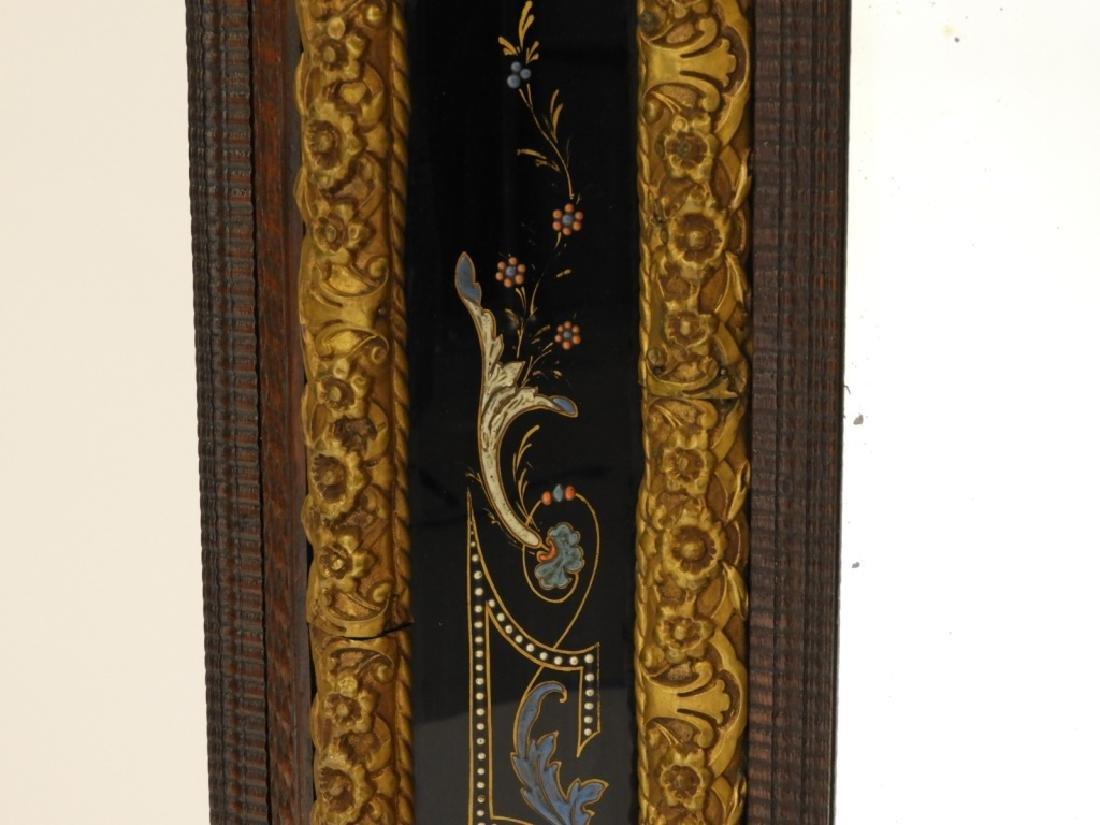 19C. Victorian Eglomised Glass & Brass Hall Mirror - 6