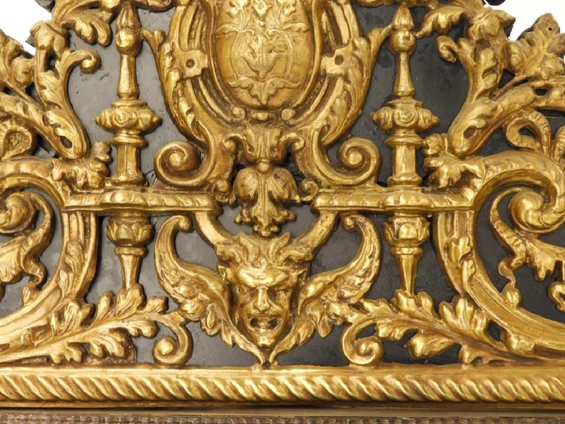 19C. Victorian Eglomised Glass & Brass Hall Mirror - 7