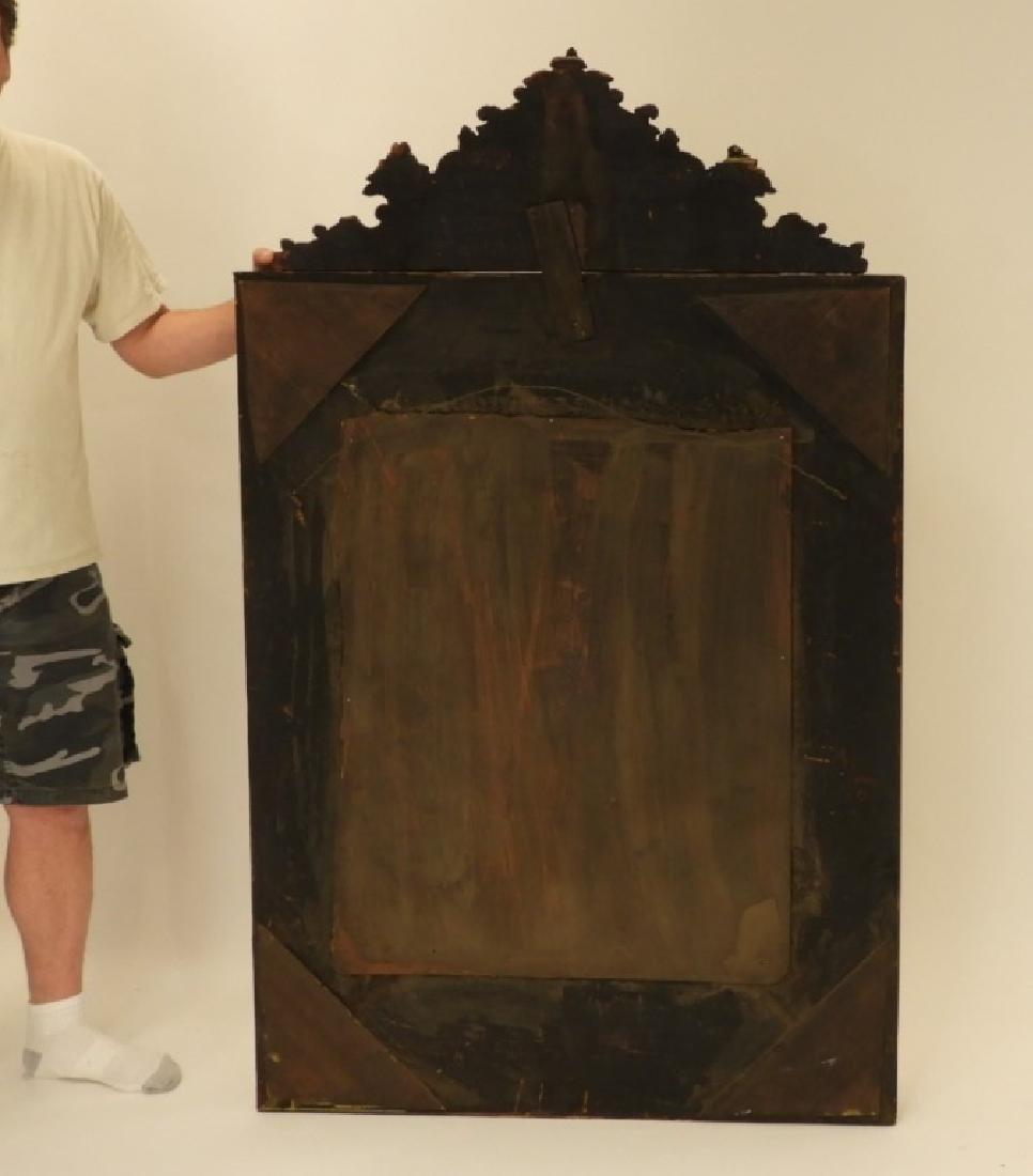 19C. Victorian Eglomised Glass & Brass Hall Mirror - 8