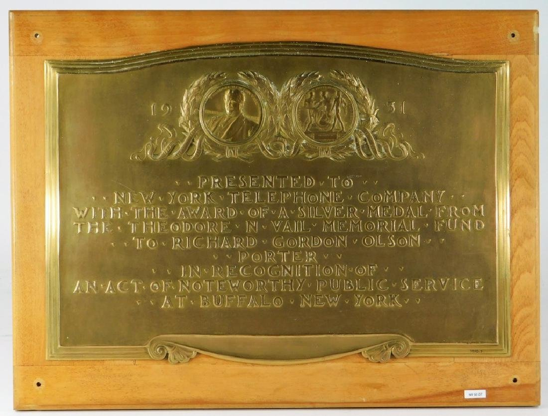 C.1931 Vail Memorial Telephone Medal Bronze Plaque