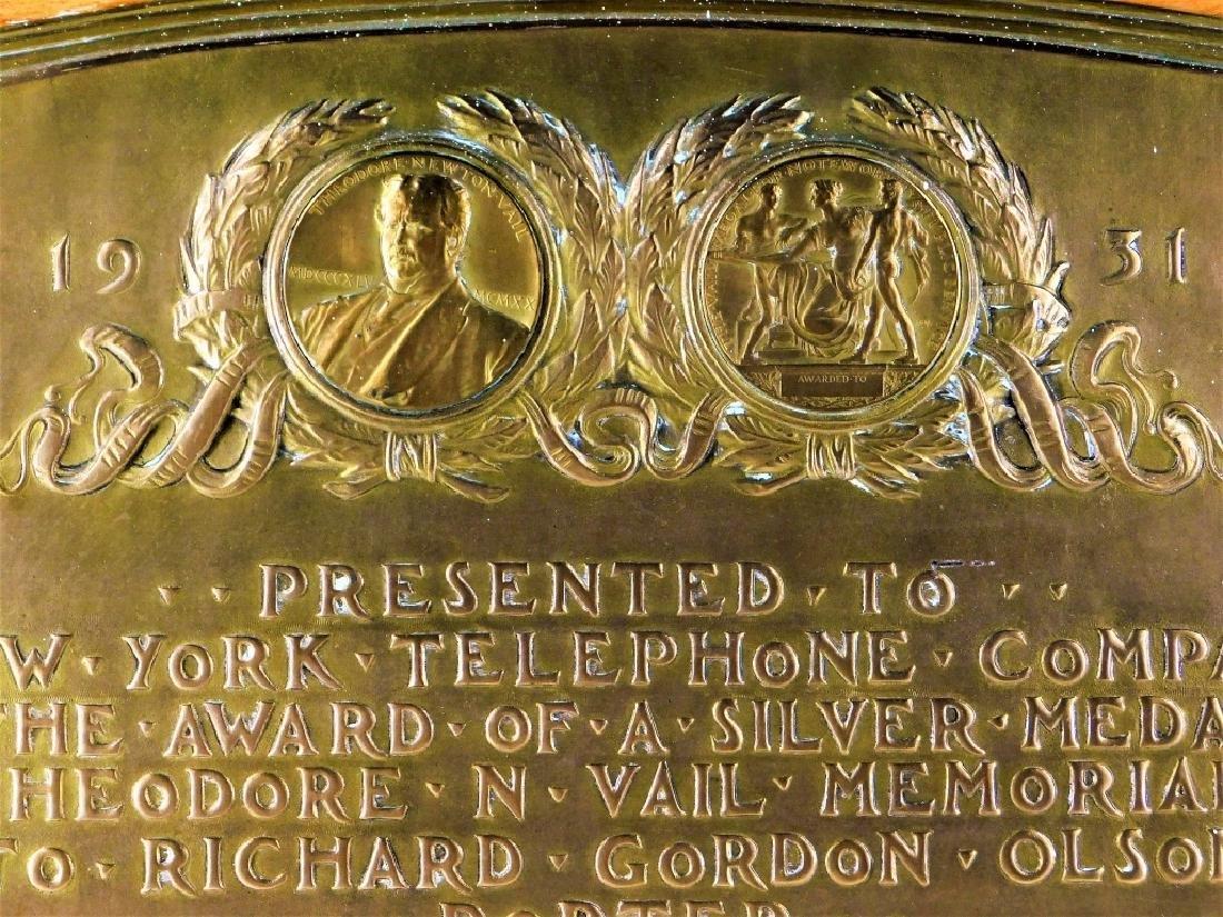 C.1931 Vail Memorial Telephone Medal Bronze Plaque - 2
