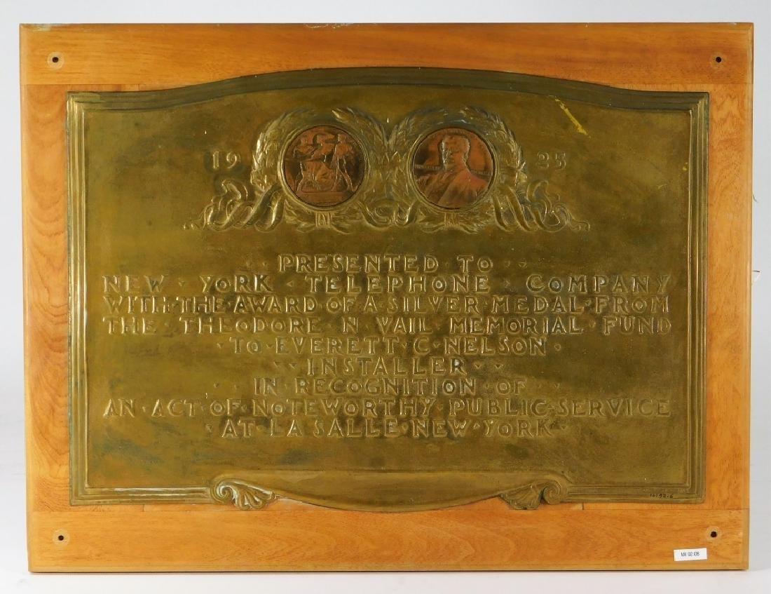 Vail Memorial Telephone Silver Medal Bronze Plaque