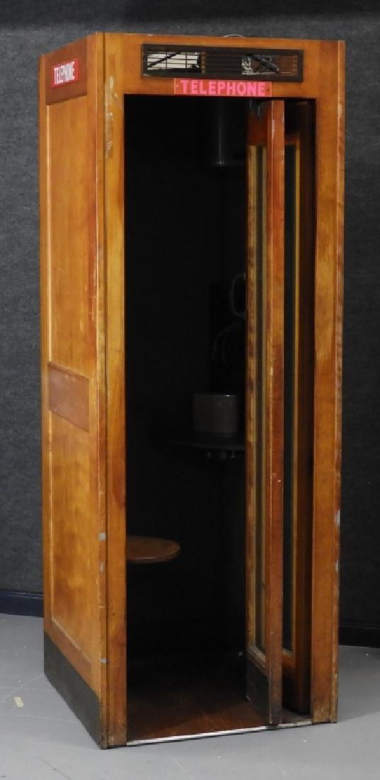 Vintage Veneer Pay Telephone Phone Booth