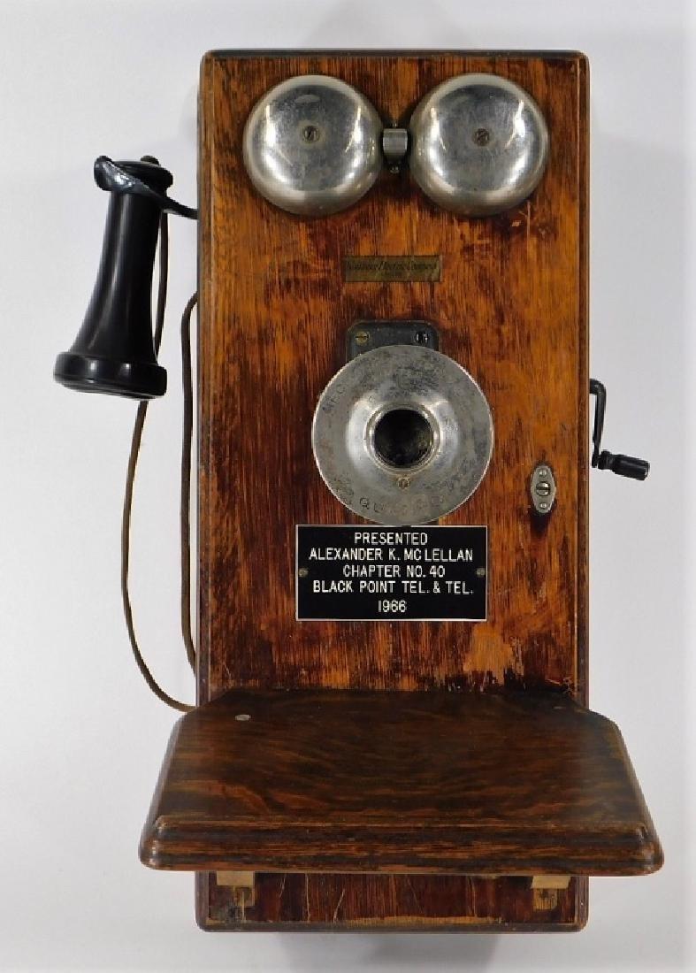 ID'd Black Point RI Oak Wall Mounted Telephone