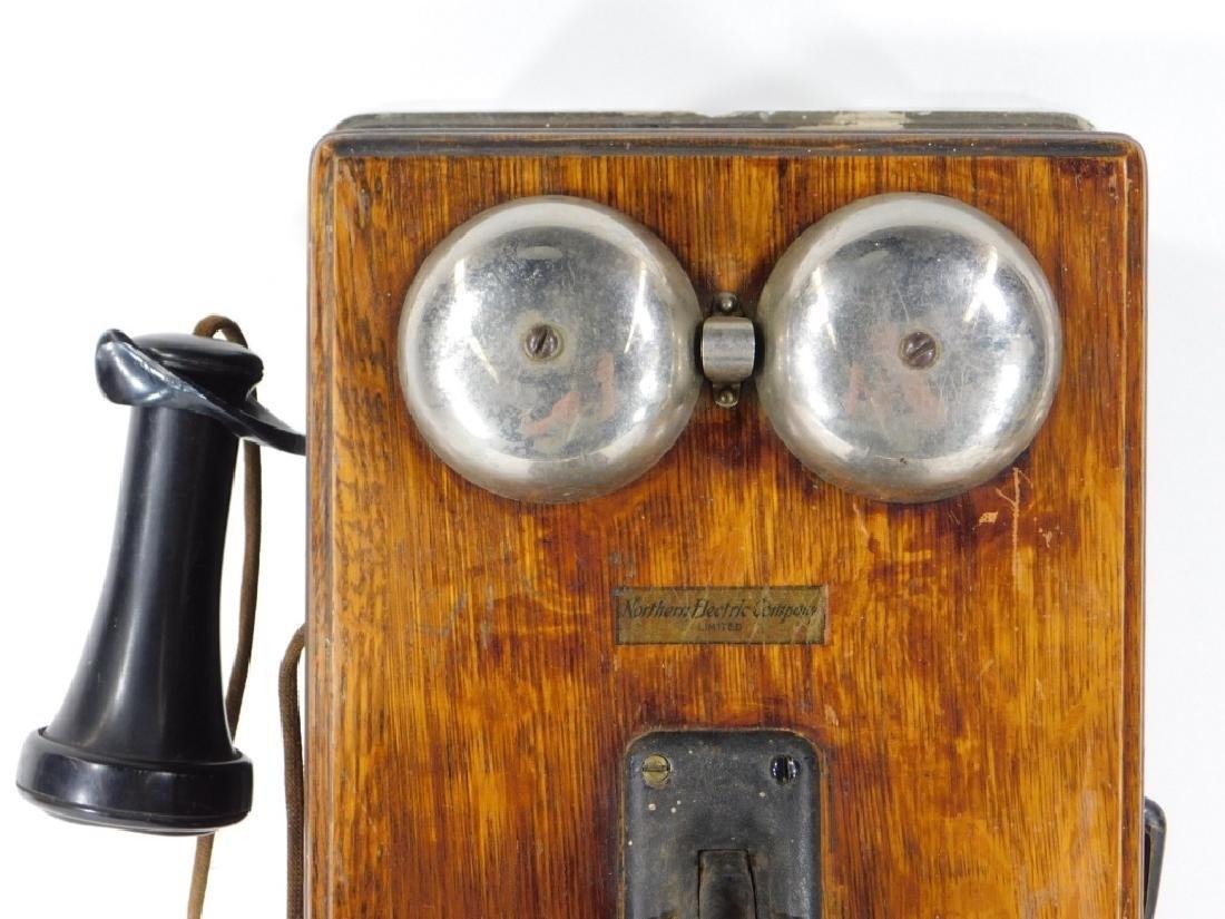 ID'd Black Point RI Oak Wall Mounted Telephone - 2
