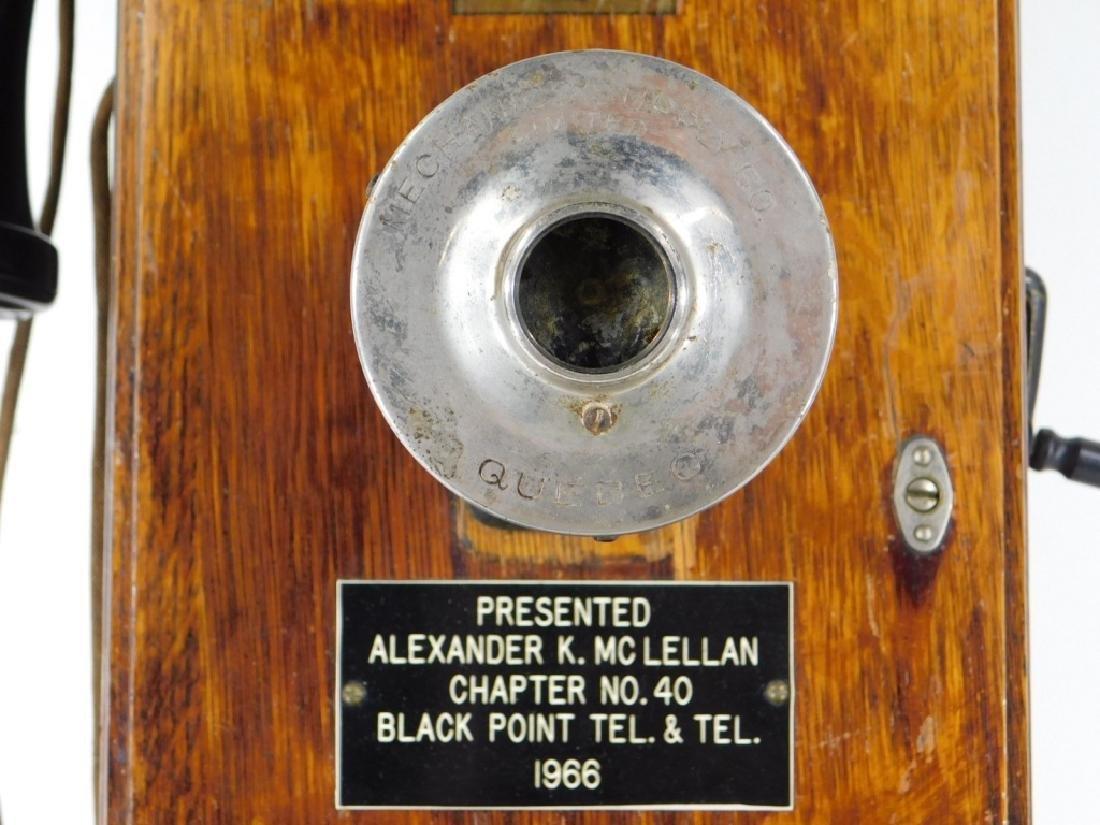 ID'd Black Point RI Oak Wall Mounted Telephone - 3