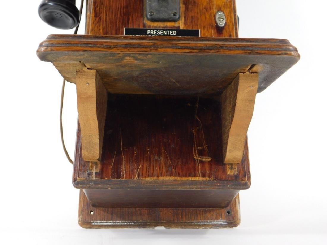 ID'd Black Point RI Oak Wall Mounted Telephone - 4