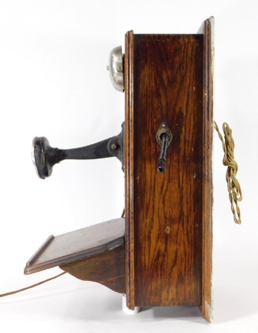 ID'd Black Point RI Oak Wall Mounted Telephone - 6