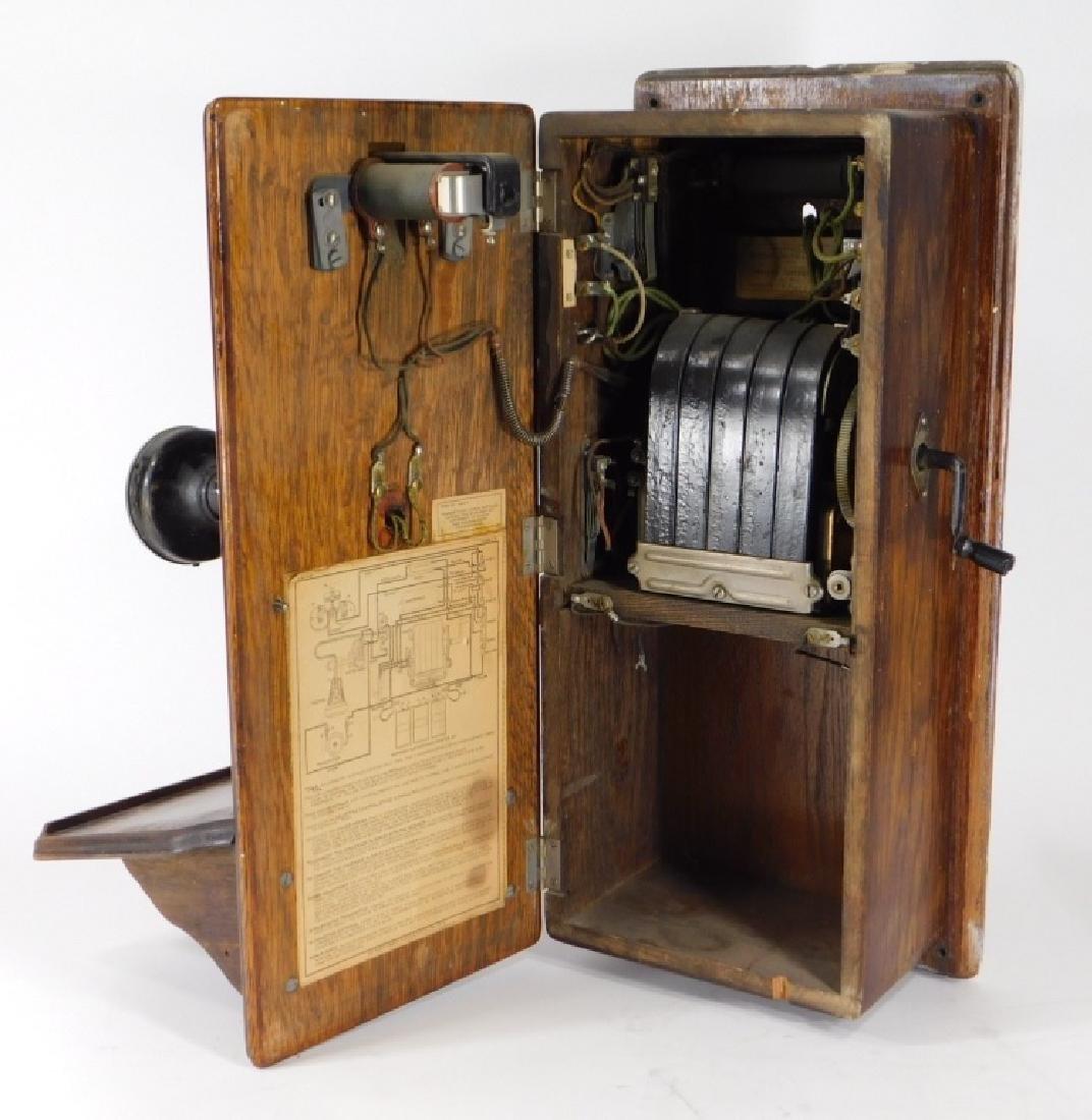ID'd Black Point RI Oak Wall Mounted Telephone - 8