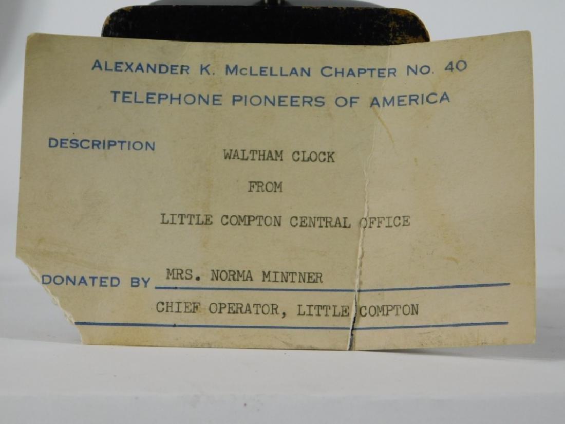 ID'd Little Compton RI Waltham Switchboard Clock - 5