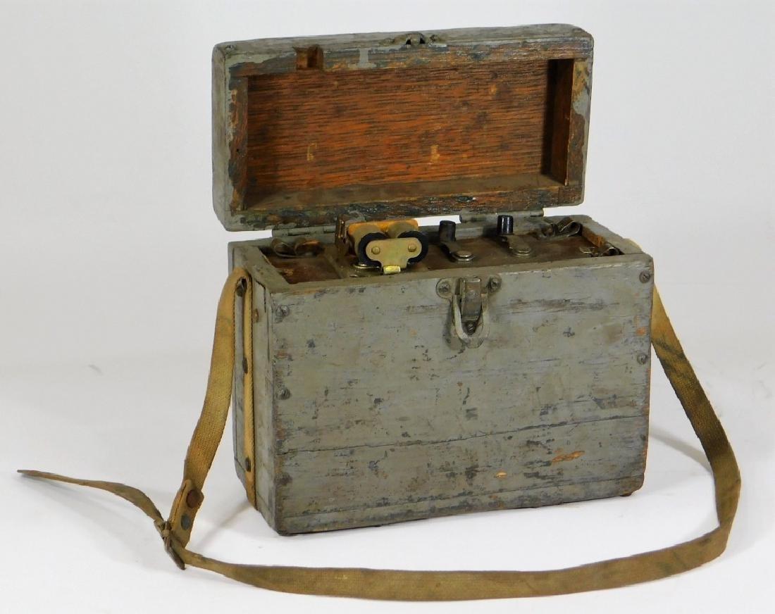 Antique Lineman Blue-Grey Painted Phone Tone Box