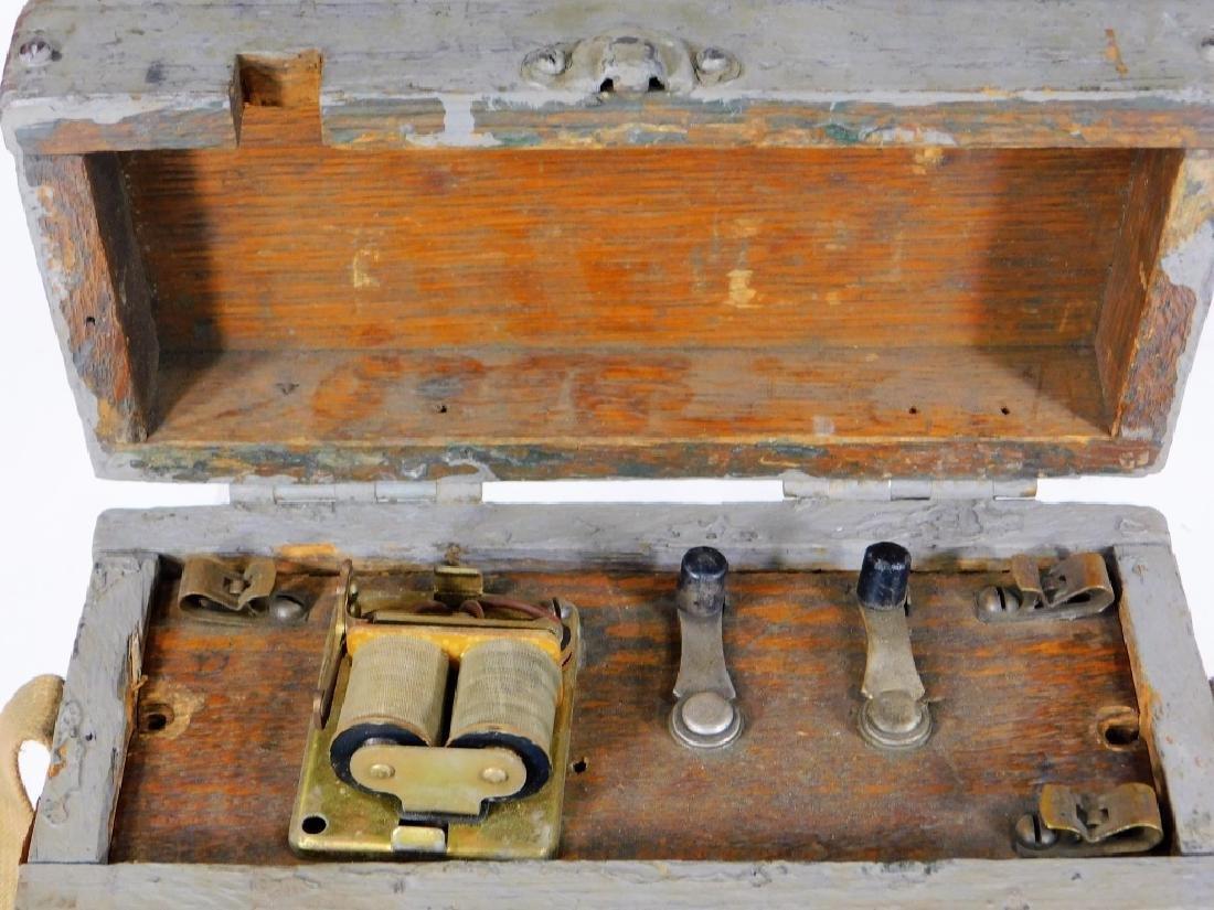 Antique Lineman Blue-Grey Painted Phone Tone Box - 2