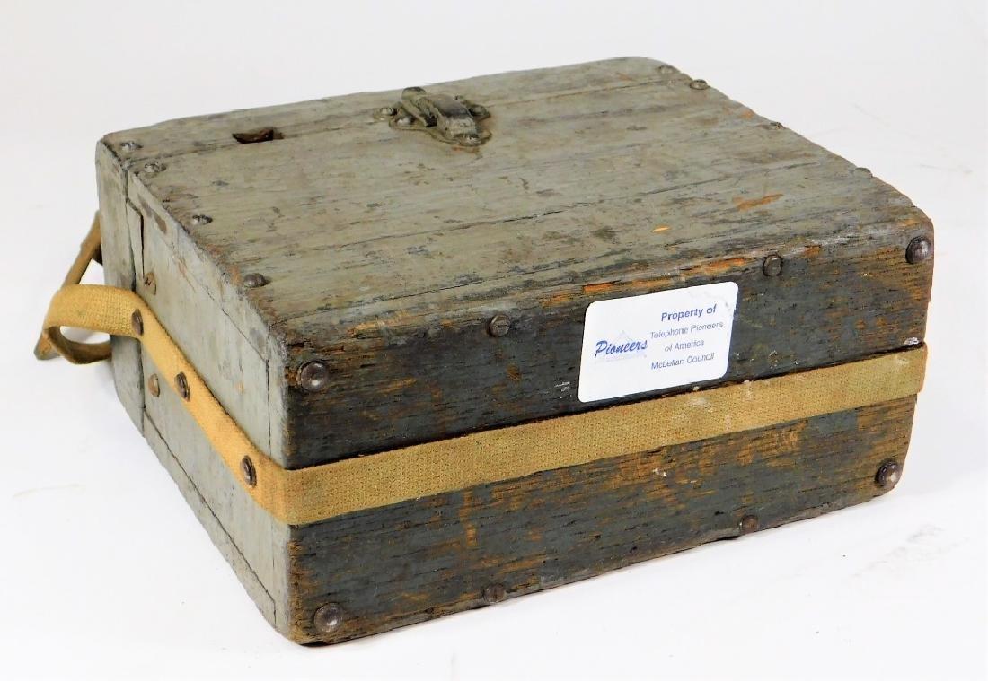 Antique Lineman Blue-Grey Painted Phone Tone Box - 4