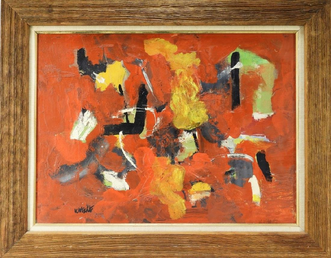 John Von Wicht O/C Abstract Red Mallorca Painting