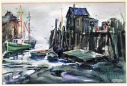 Spencer Crooks New England Harbor Dock Painting