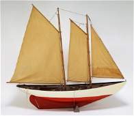 Vintage Wood Schooner Sailboat Pond Boat Model