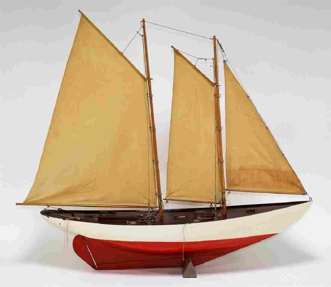 Vintage Wood Schooner Sailboat Pond Boat Model