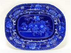 19C. Staffordshire Blue Transferware Fruit Platter