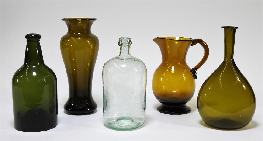 5PC 18C American Hand Blown Glass