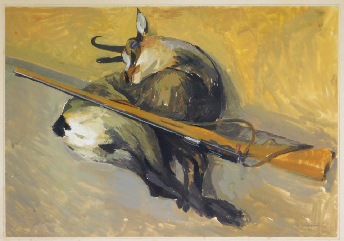 Albert Chavaz Alpine Ibex Rifle Game Painting