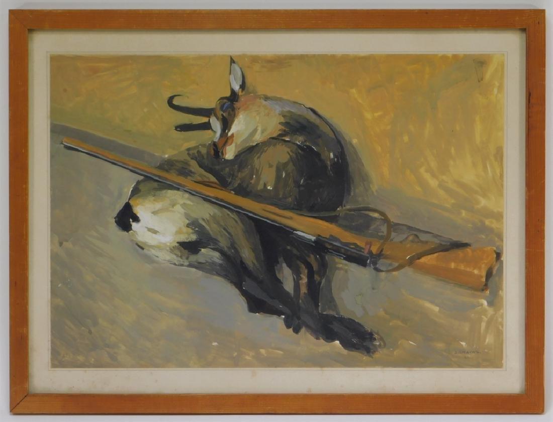 Albert Chavaz Alpine Ibex Rifle Game Painting - 2