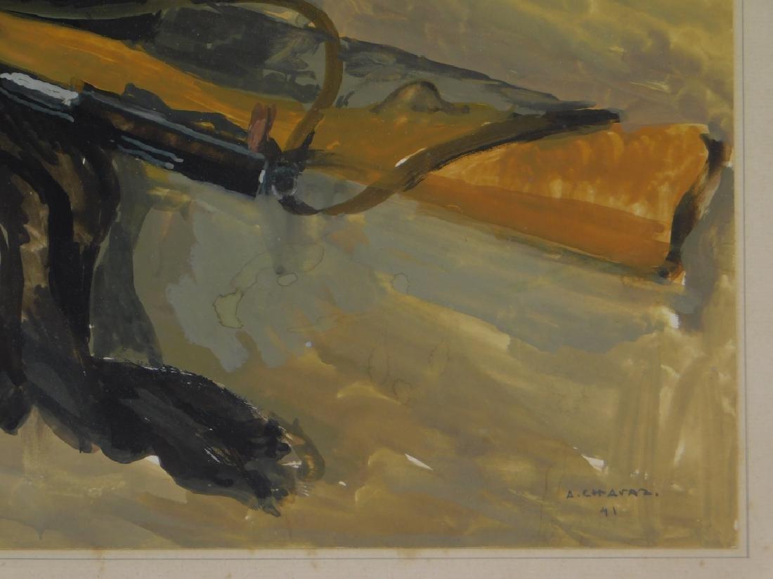 Albert Chavaz Alpine Ibex Rifle Game Painting - 4