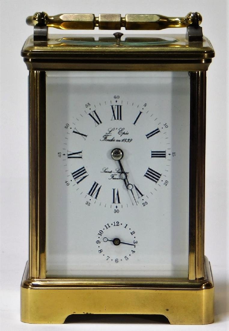 French Saint Suzanne L'Epee Brass Carriage Clock