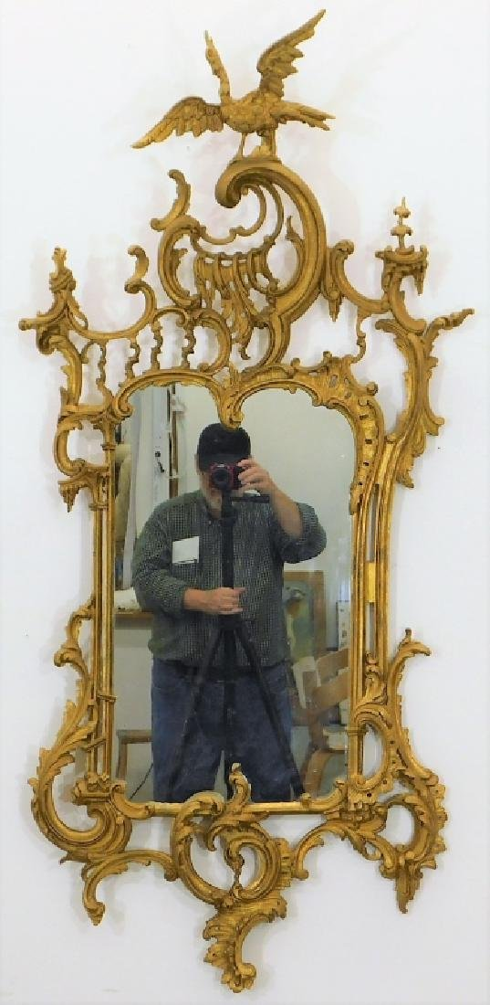 19C American Chinese Chippendale Gilt Wood Mirror