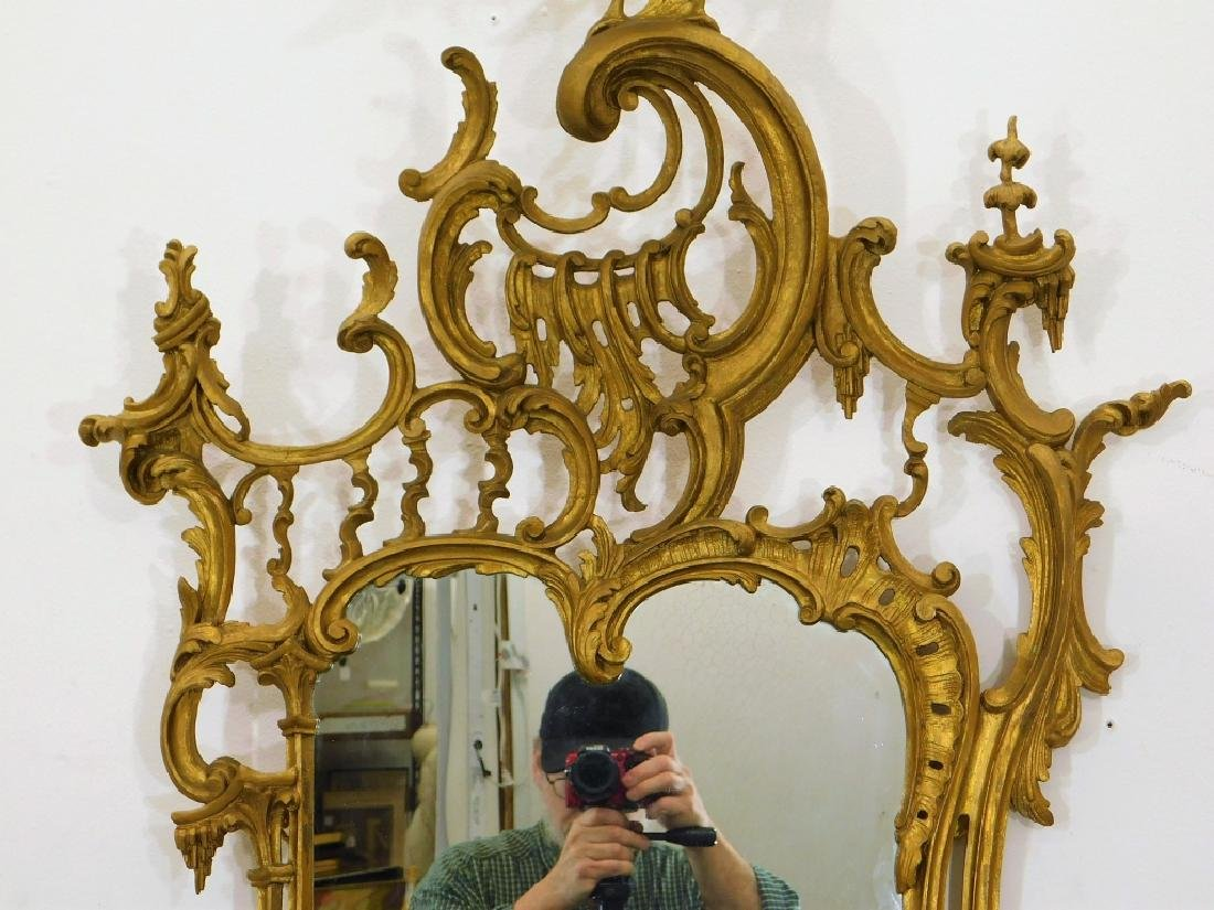 19C American Chinese Chippendale Gilt Wood Mirror - 4