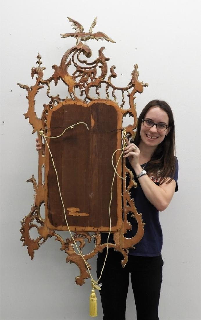 19C American Chinese Chippendale Gilt Wood Mirror - 8