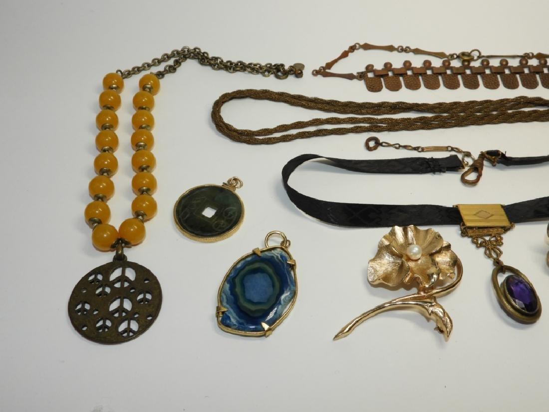 Estate Costume Victorian Mourning Copper Jewelry - 2