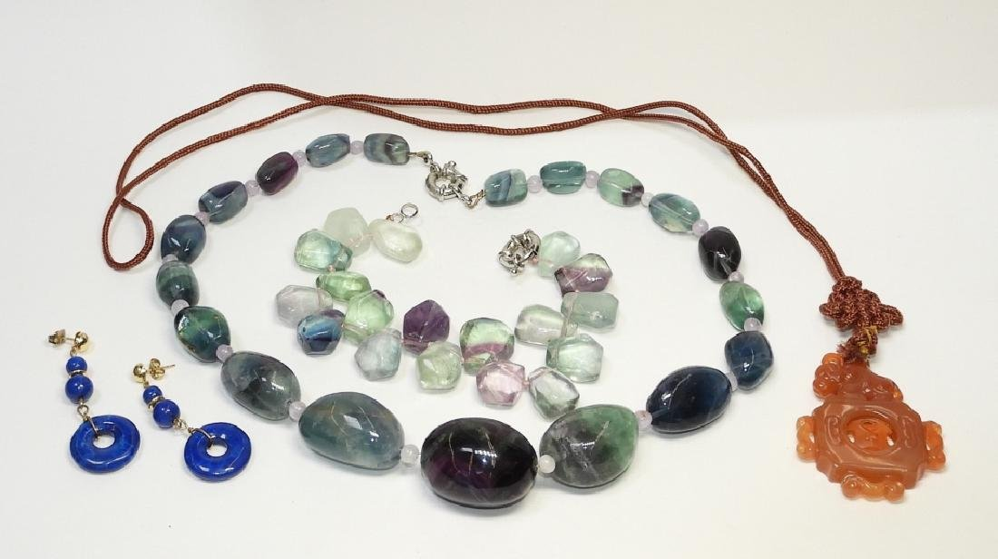 Chinese Hardstone Agate Necklace Bracelet Amulet