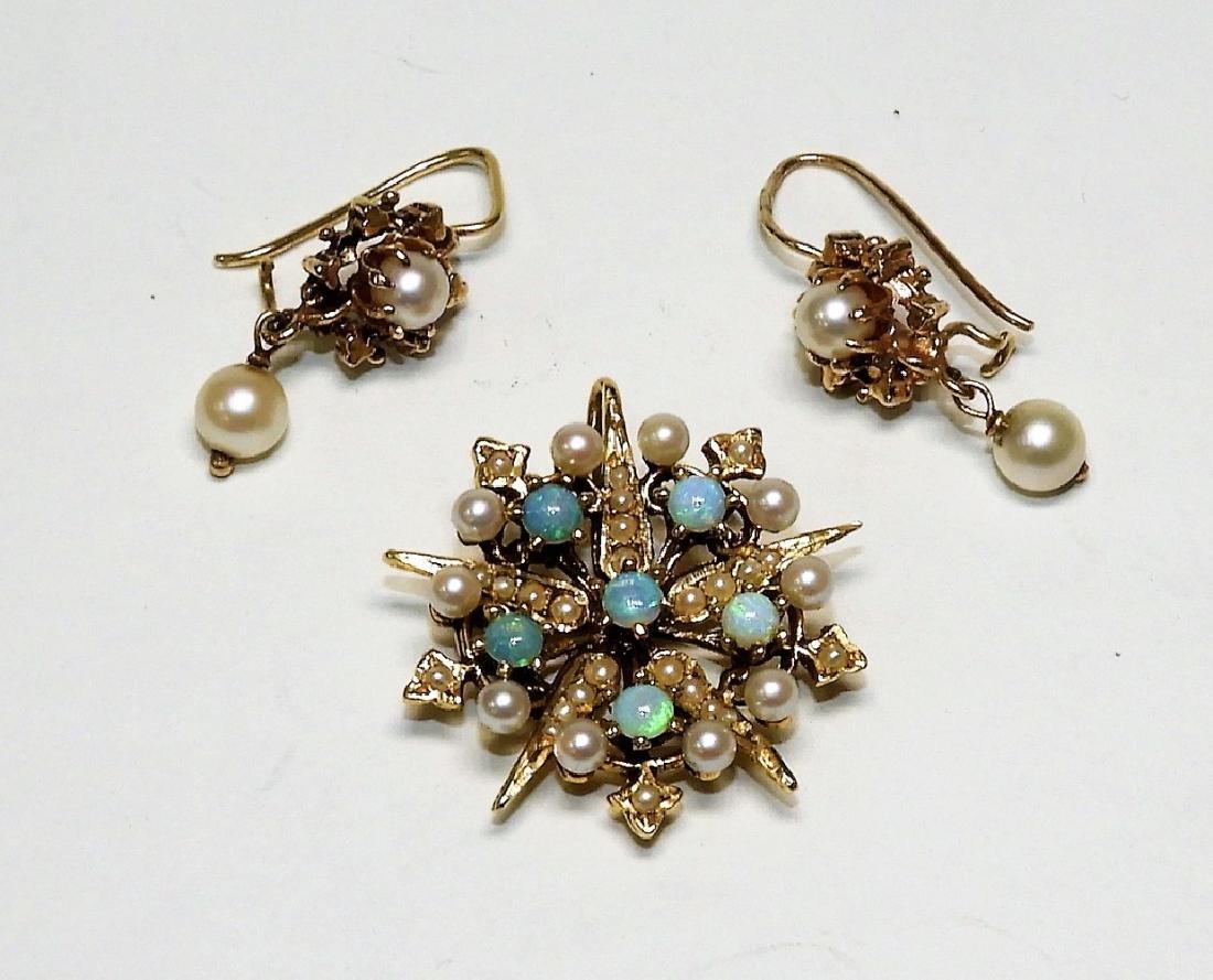 14K Gold Pearl Opal Star Brooch & Earrings