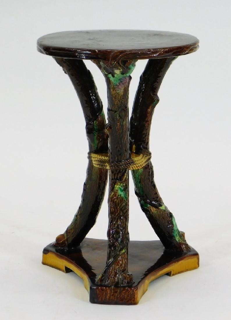 C.1880 George Jones Rustic Majolica Garden Seat