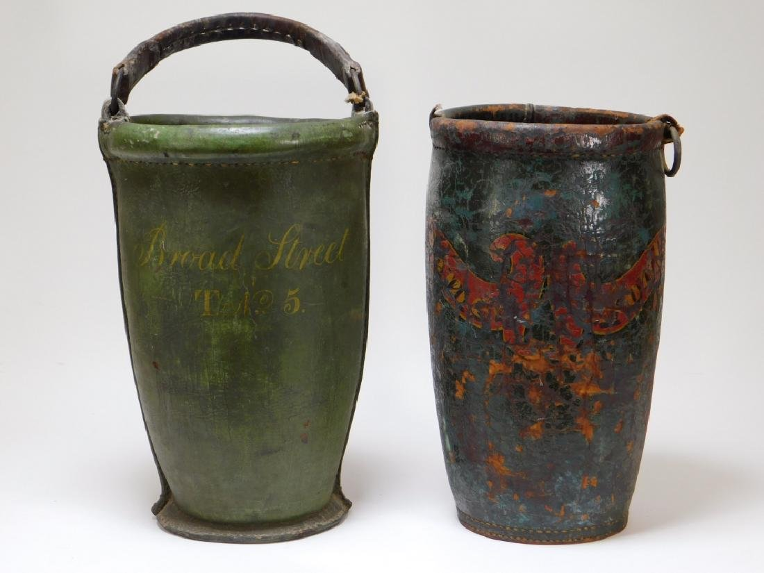2 19C American Folk Painted Leather Fire Buckets