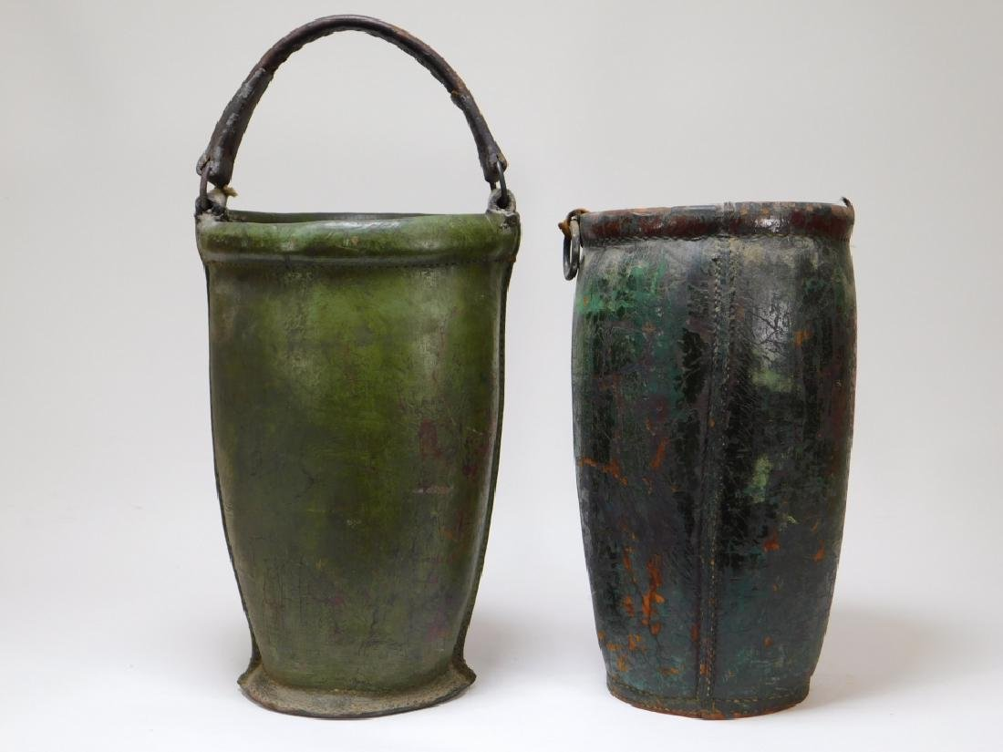 2 19C American Folk Painted Leather Fire Buckets - 2