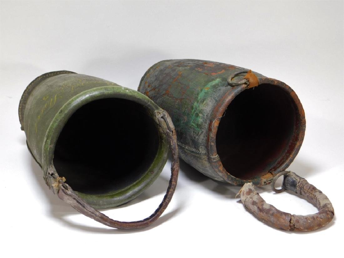 2 19C American Folk Painted Leather Fire Buckets - 3